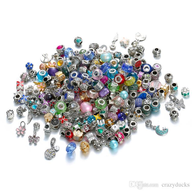 Mix Style Europäischen Murano Matel Großes Loch Roll Perlen Lose Perlen Fit Für Europäische ArmbänderKette DIY PERLEN