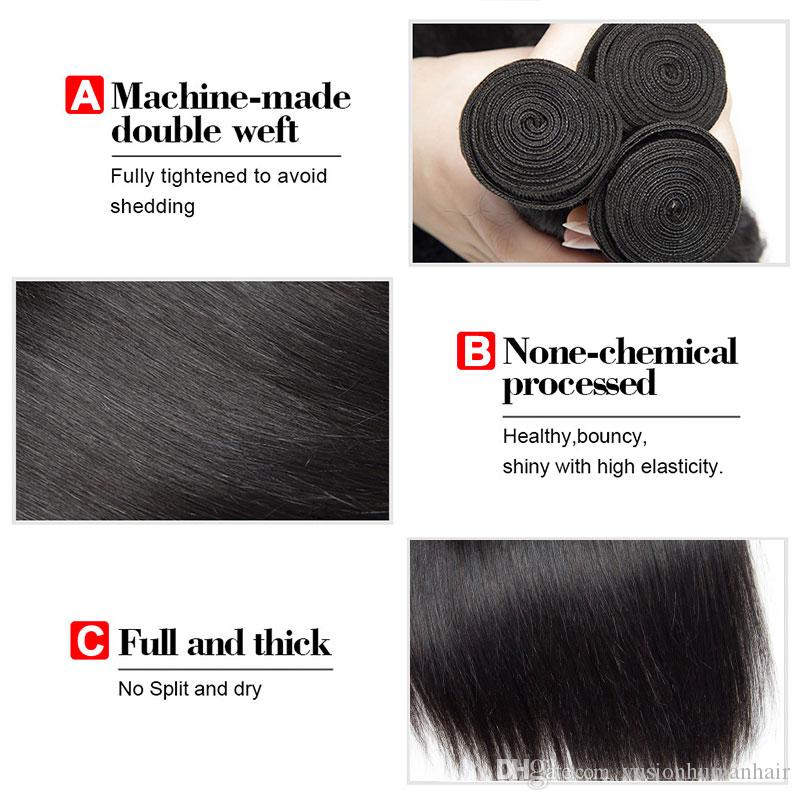 New Arrival Brazilian Straight Hair Bundles With Frontal Natural Black Mink Hair Weave Unprocessed Cheap Hair Weaves Extensions