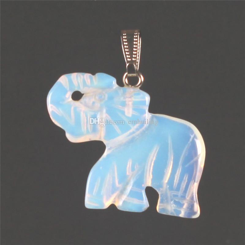 Opal Opalite Tiger Eye Elephant Stone Natural Stone intagliato 32 * 25mm Figurina Chakra Bading Pendant Healing Crystal Reiki Feng Shui Portata buona fortuna