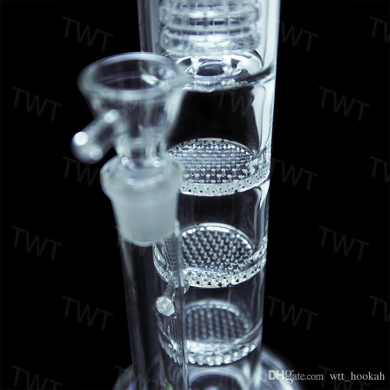 Oil Rig Water Pipe Glass Bong Brand Layer Honeycomb Tablets Filter Bongs Recycler Hookahs For Smoking 2017