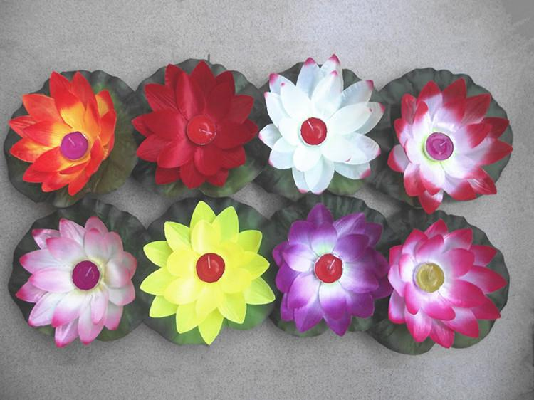 Many Colors Artificial Silk Lotus Wishing Lamp Pray Floating Water Lanterns with Candle for Birthday Wedding Party Decoration