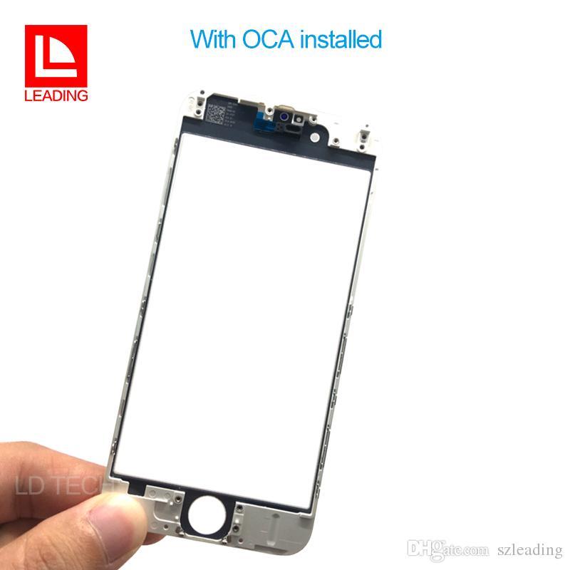 Panel frontal de la pantalla táctil Lente externa de vidrio con prensado en frío Marco central con OCA instalado para iPhone 6 6s 6 plus 6s plus