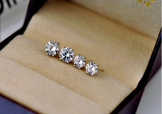 Women men unisex classic CZ diamond stud earrings 18k white gold plated hearts and arrows post earrings CZ size 3mm to 10mm