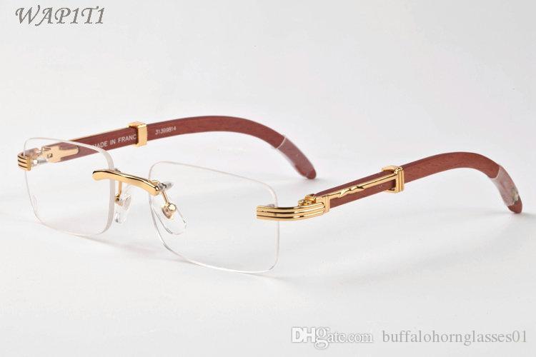 nuova moda occhiali da sole gli uomini occhiali senza montatura bianca di bufalo occhiali di corno delle donne di legno di bambù vengono con le scatole lunette