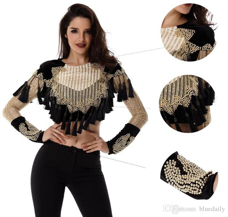 New Women Basic Coats Luxury Gold black Beaded Long Sleeve Tassels mesh sequins O neck Celebrity Runway Jacket Velvet Coats