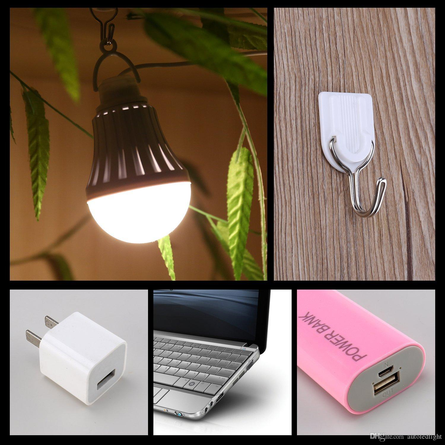 Mini Portable 7W White Light USB Bulb LED Light For Outdoor Camping Hiking home reading garden
