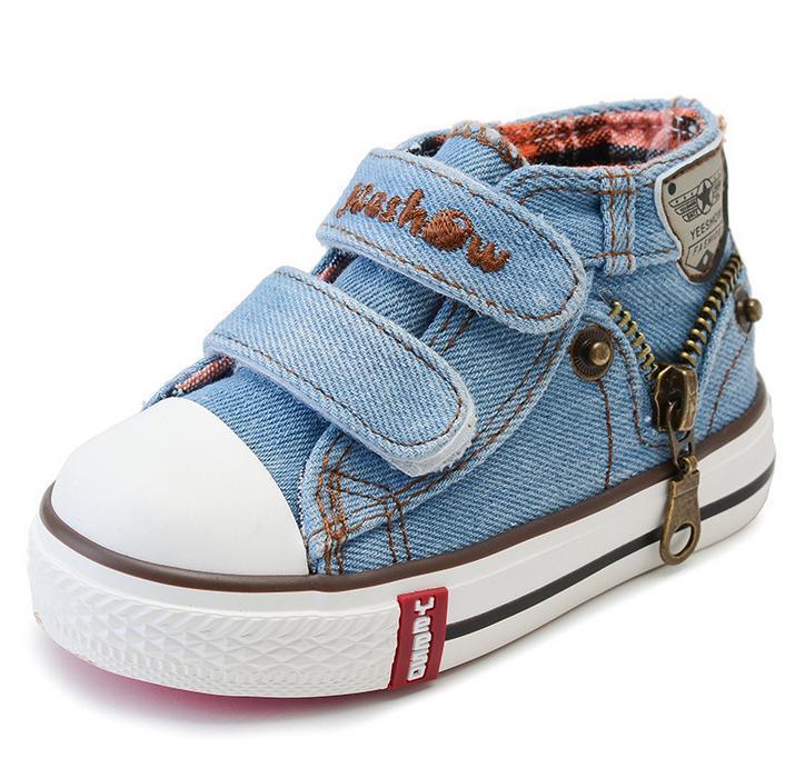 2017 Tuval Çocuk Ayakkabıları Erkek Sneakers Marka Çocuklar Kızlar için Ayakkabı Bebek Kot Denim Düz Çizmeler toddler ayakkabı YS66