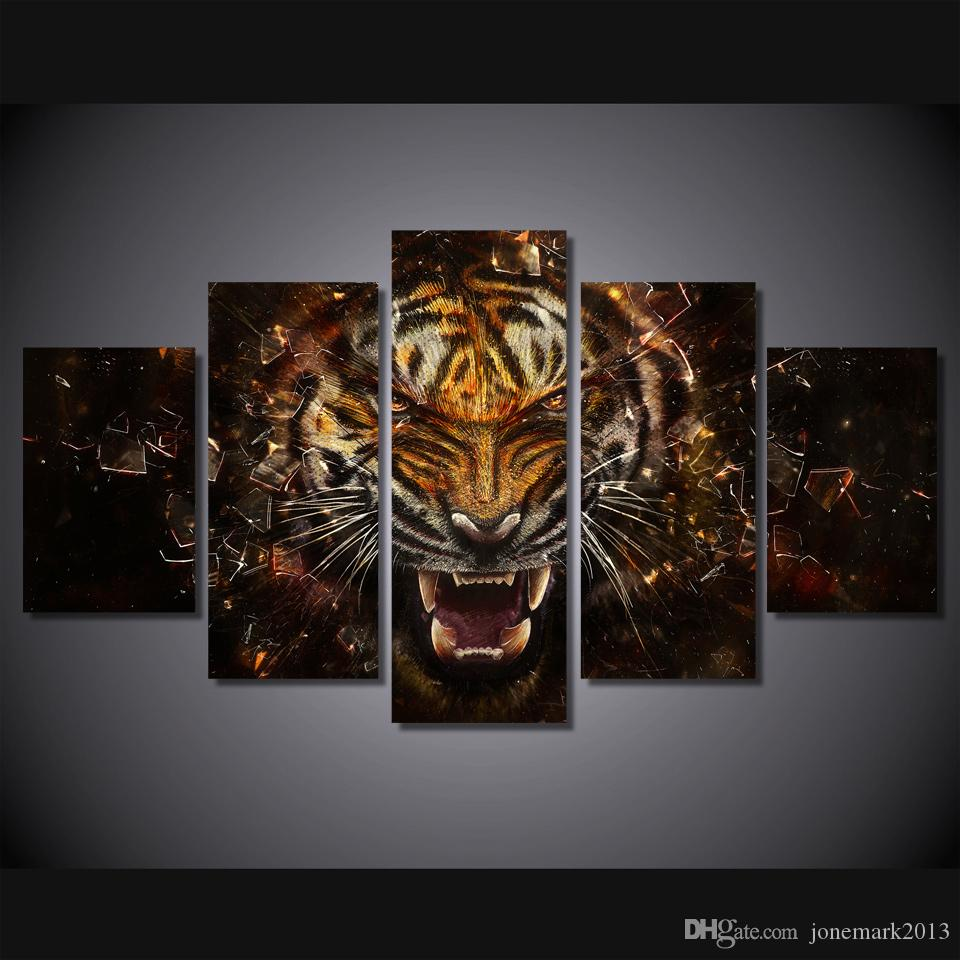 2017 framed hd printed tiger backgrounds picture painting wall art