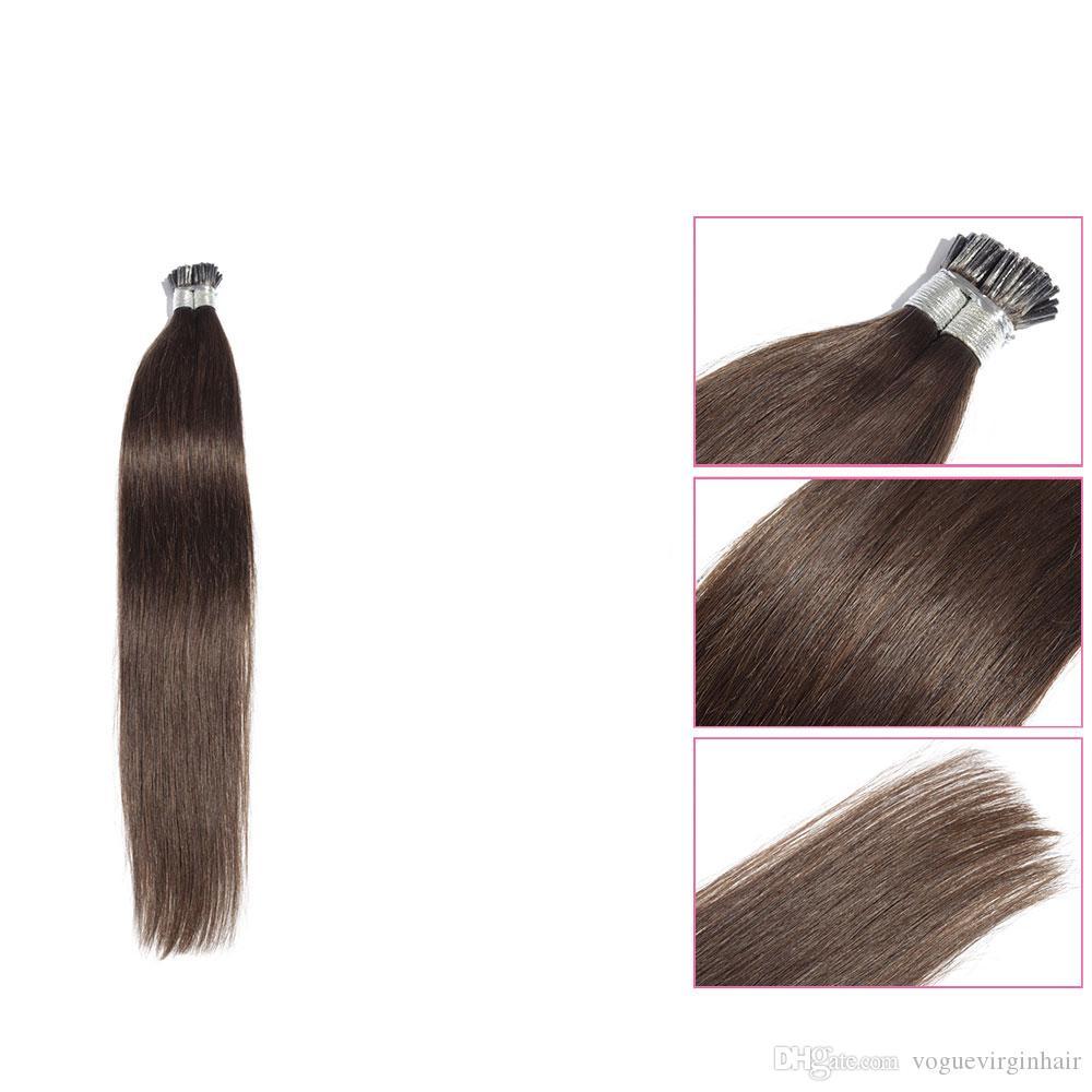 빠른 배송 최고 품질의 I - 팁 사전 본딩 머리카락 확장 스트레이트 브라질의 인간의 머리 미리 본딩 머리카락 확장 50 그램