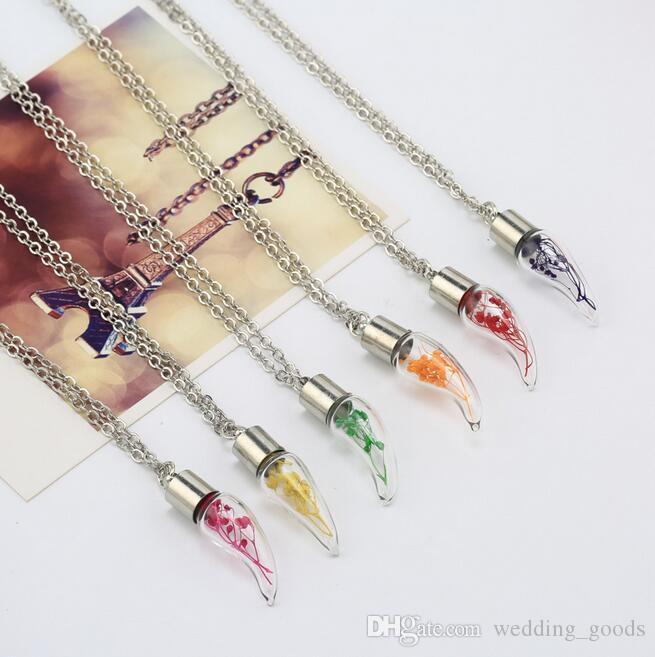 Горячие продажи ручной работы DIY стеклянная бутылка сухих цветов ожерелье завод образцов Малый Свежее WFN312 с цепью смешать заказ 20 штук много