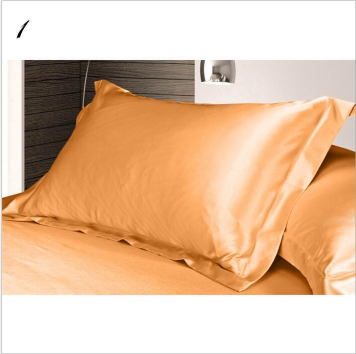 Christmas Solid Color Silk PillowCases Double Face Pillow Case High Quality Charmeuse Silk Satin Pillow Cover Bedding Supplies