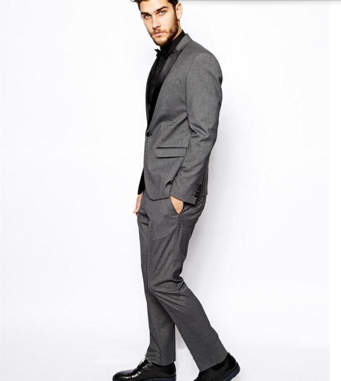 Abiti da uomo su misura Smoking dello sposo Abiti da uomo grigio chiaro Risvolto Prom Mens Sposo abiti da uomo giacca + pantaloni