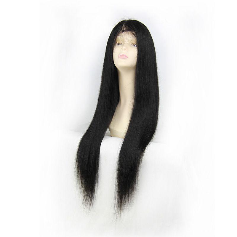 Ücretsiz kargo 130% Yoğunluk Dantel Ön İnsan Saç Peruk Siyah Kadınlar Için Ön Koparıp Doğal Saç Çizgisi Ile Bebek Saç Remy Saç düz peruk