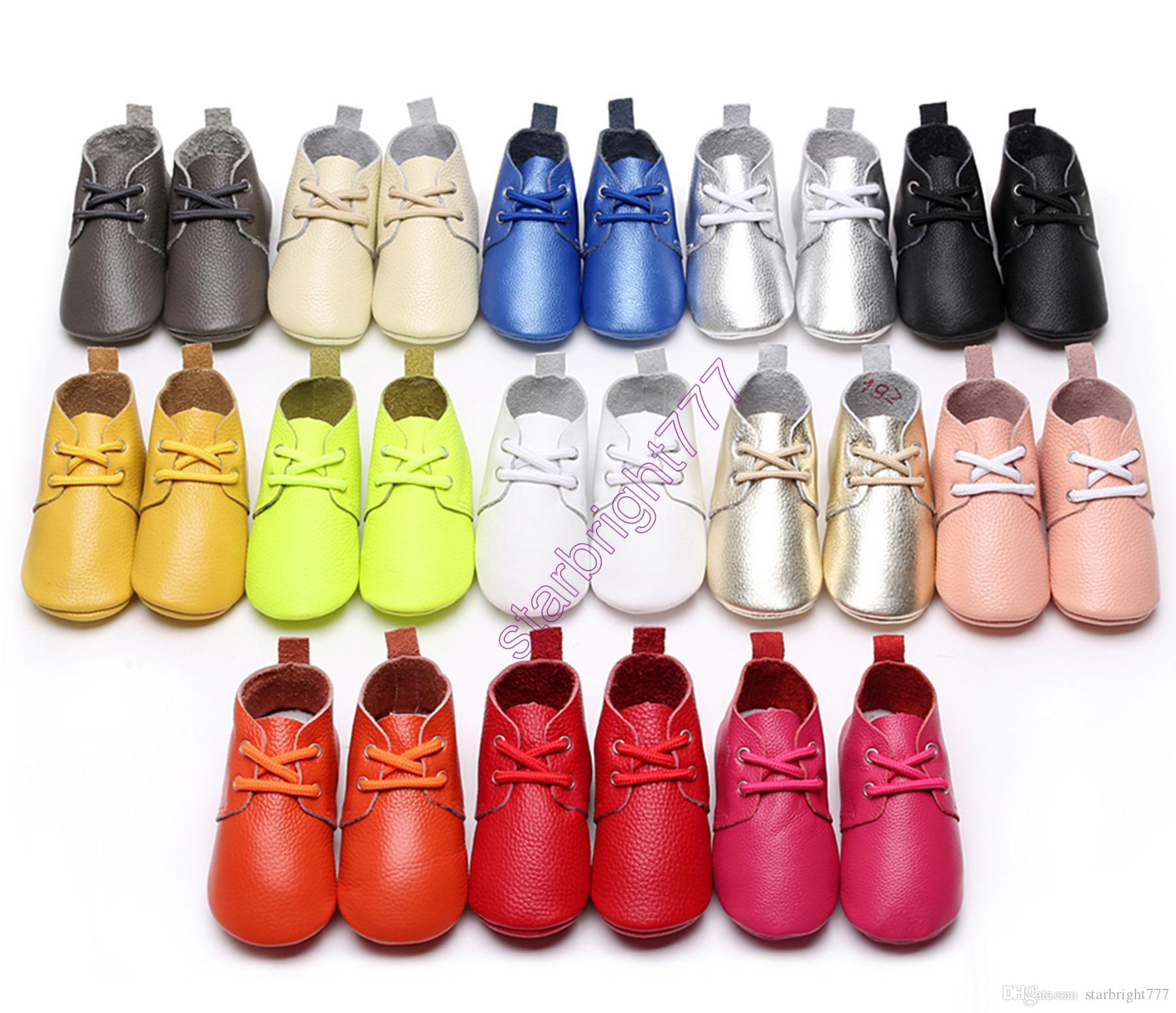 INS Toddler Genuine Cow Leather Baby Lace UP Shoes Infant Girls Boys Soft Sole Casual Indoor Outdoor Walking Sneakers Shoes Prewalker