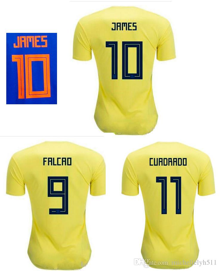f5b82671e24 2019 18 19 Colombia Soccer Jerseys 2018 World Cup Home Away Shirt JAMES  FALCAO CUADRAD GUARIN SANCHEZ Football Uniforms Top Thai Quality T Shirts  From ...