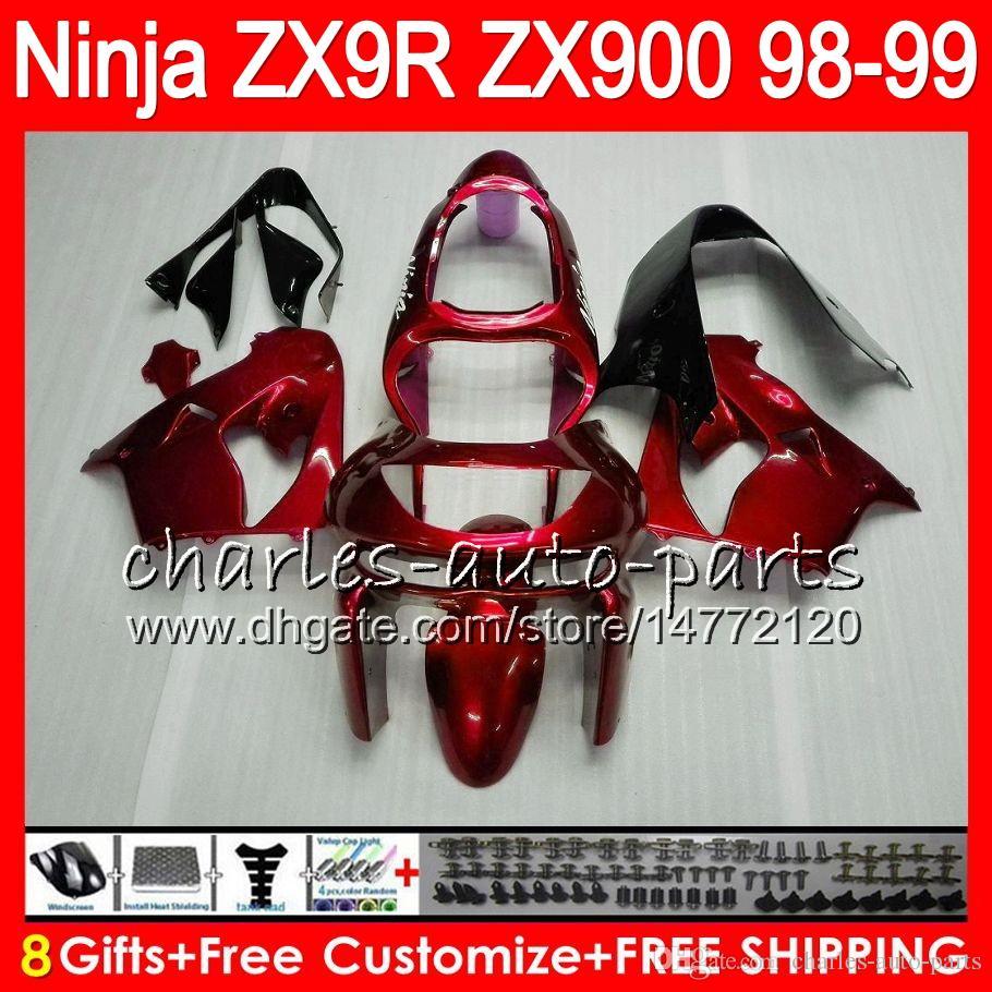 8Regalos es Para KAWASAKI NINJA ZX900 ZX9R 98 99 00 01 900CC rojo brillante 48HM20 ZX-9R ZX 9 R ZX900C ZX 9R 1998 1999 2000 2001 Kit de carenado