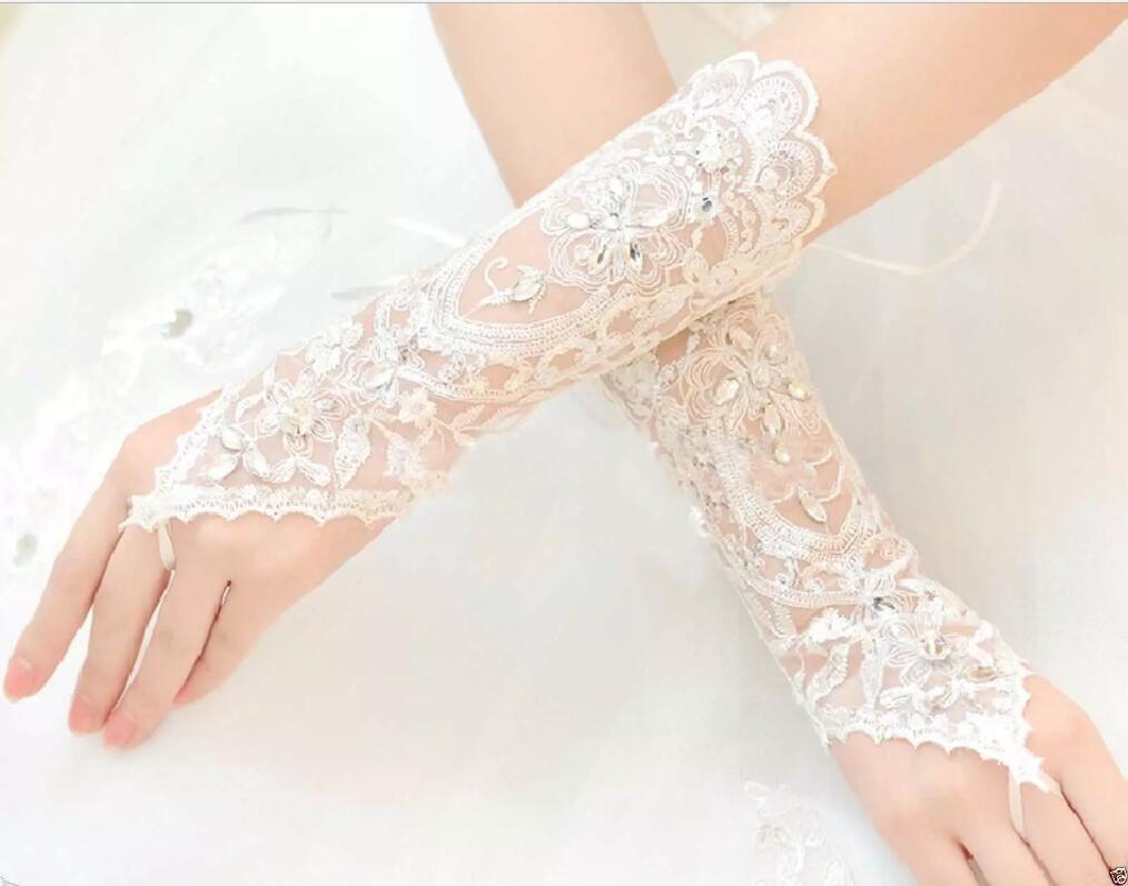 White Lace Fingerless Appliques Below Elbow Length Gloves Short Bridal Wedding Gloves
