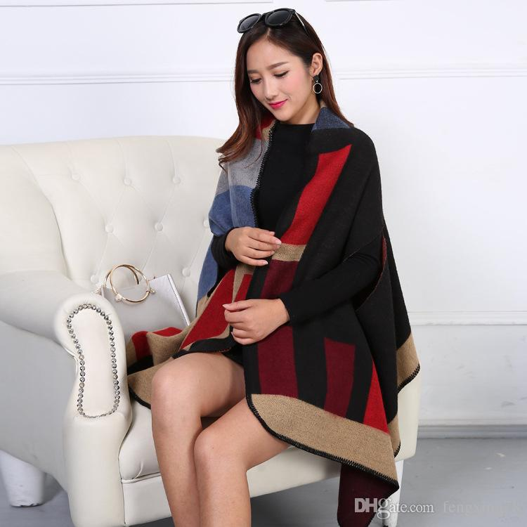 Chirstmas Party Price New 2016 Lady Women Blanket Double Side Scarf Tartan Scarf Wrap Shawl Plaid Cozy Checked Pashmina autumn and winter