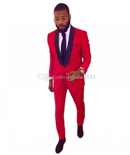Smoking dello sposo alla moda Groomsmen One Button Red Scial risvolto Best Man Suit Wedding Blazer per uomo (giacca + pantaloni + cravatta) K311