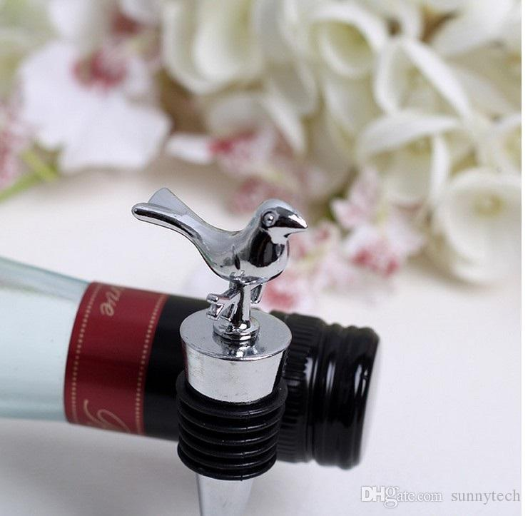 Stainless Steel Home Bar Wine Collection Red Wine Champagne Love Bird Wine Bottle Stopper Bridal Shower Wedding Gift WA1484