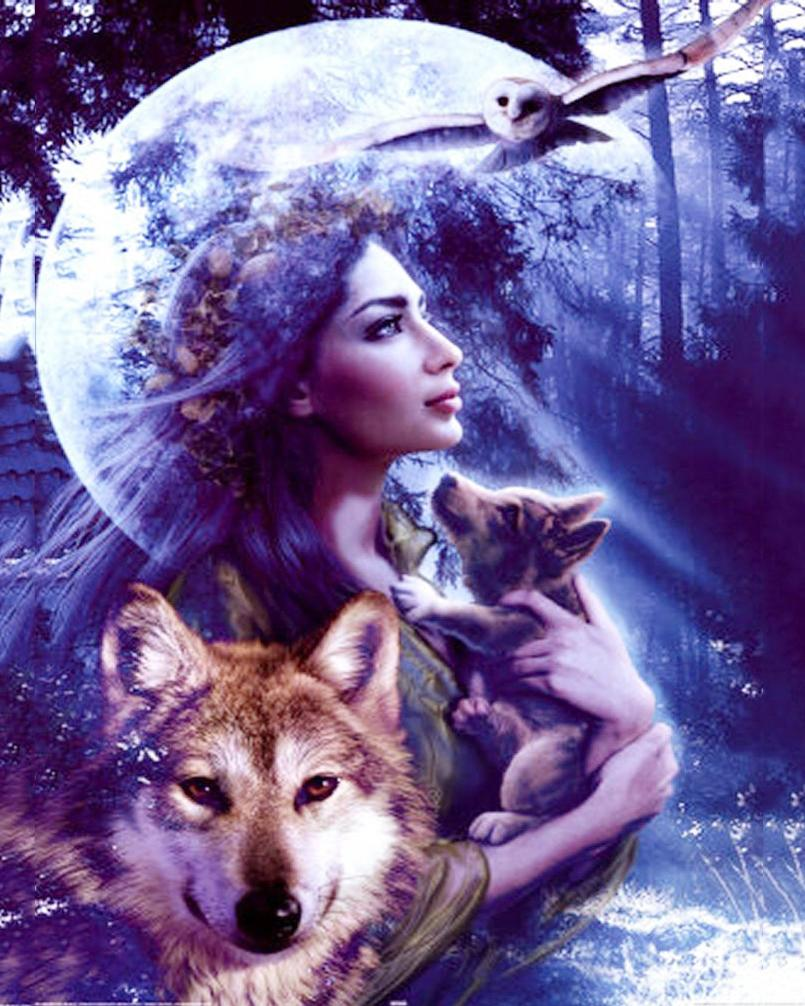 Wolves Girls And Wolf Girl: 2019 100%DIY Crystals Paint Kit Wolf And Girl 5D Diamond