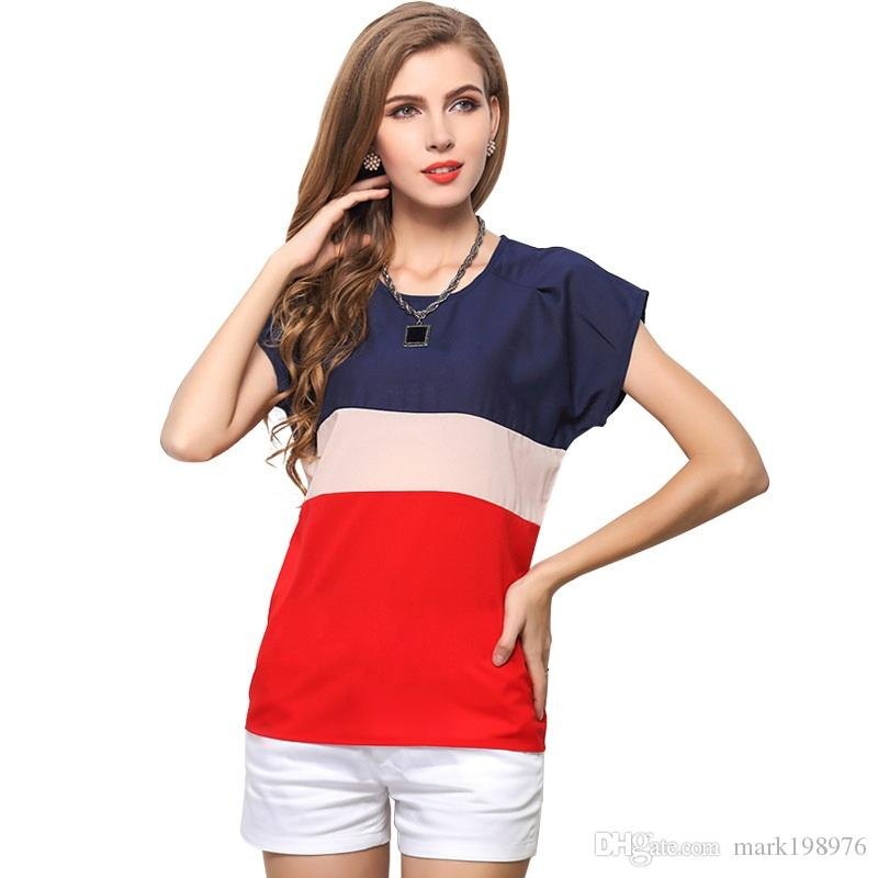 50503030397f 2018 2017 Summer Style Short Sleeve Chiffon Blouse For Ladies Color Mosaic  High Quality Brand Shirt Hot Selling Chiffon Shirt ST008 From Mark198976