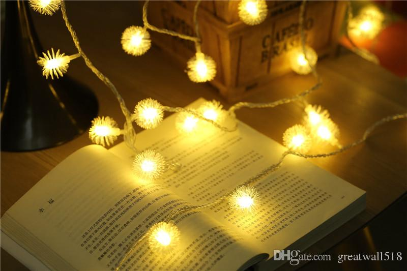 Светодиодные строки света теплый белый свет Фея праздник света для партии Рождество свадебные украшения AC Operated фугу мяч QX008