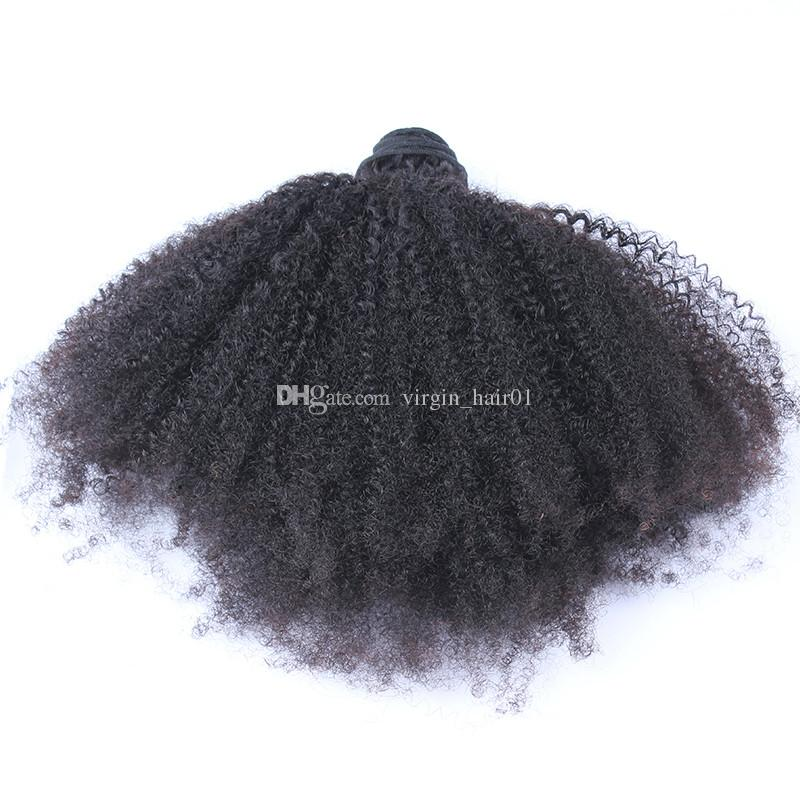Brazilian Afro Kinky Curly 4*4 Lace Frontal Closure With Hair Bundles Afro Curly Virgin Hair With Lace Closure