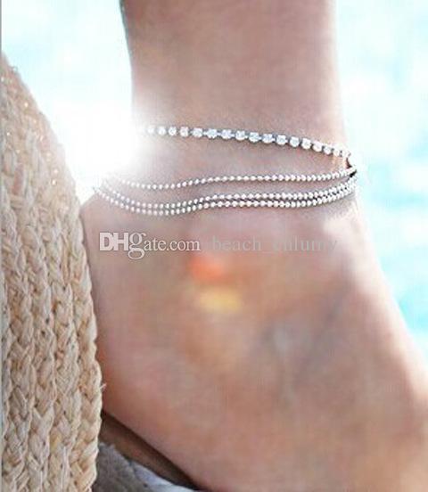 Bikini bohemio Mujeres pie tobillera cadena de vacaciones de playa desgaste joyería regalo Pulseras Plateado Plata Turquesa Cadena de Pie Tobilleras Accesorios
