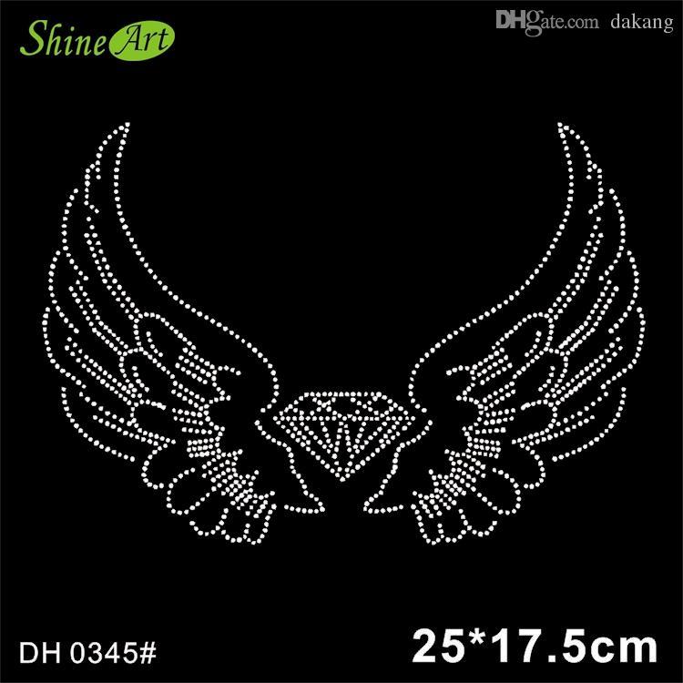 Angel Wing Bling Stone Crystal Hotfix Rhinestones Motif Heat ... fe3180aaf809