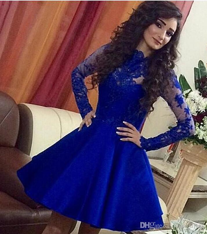 Compre Royal Blue Corto Encaje Homecoming Vestidos Appliques Mangas ...