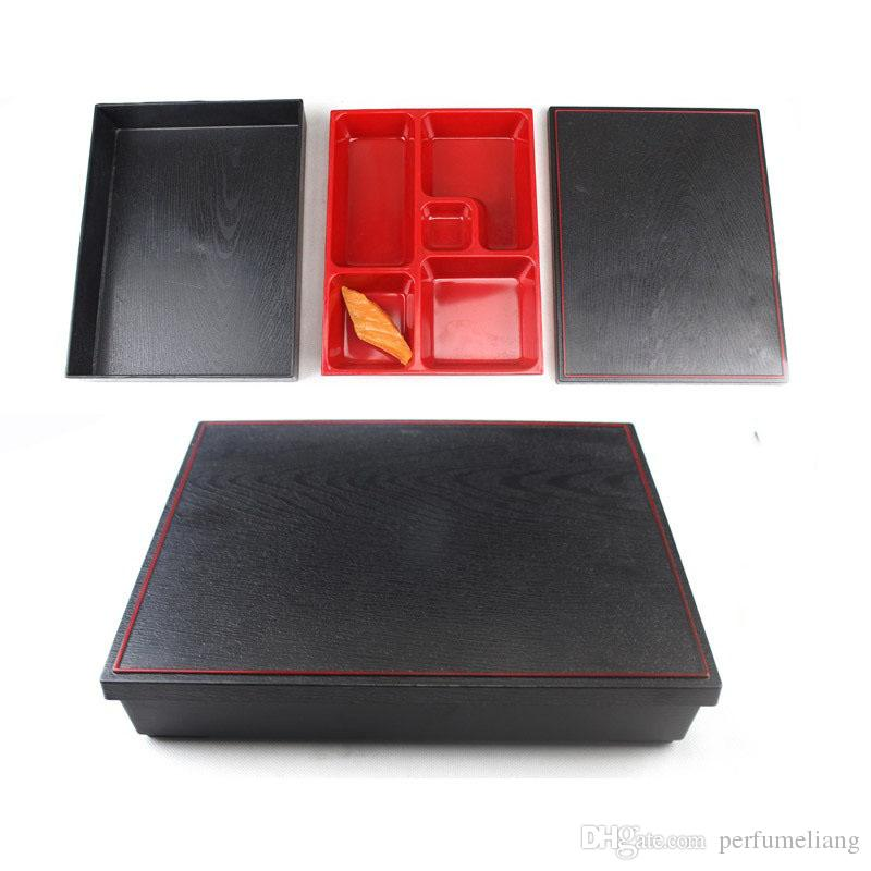 27*21*5cm Japanese Style Sushi Box Plastic Lunch Sub Grid Rectangular Fast Food Business Packages Box ZA4310