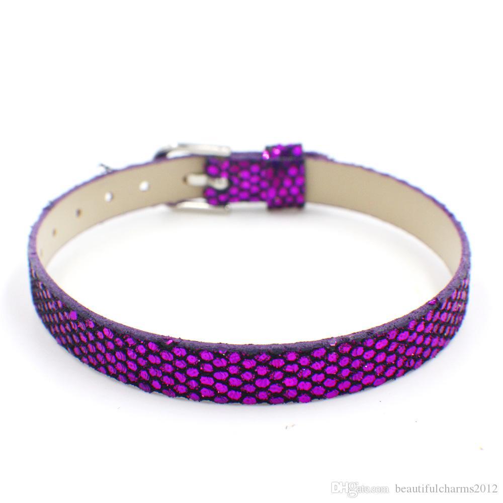 Groothandel 8mm brede 21cm lengte 100 stks / partij glanzende PU lederen polsband armband fit voor diy accessoires schuif letters