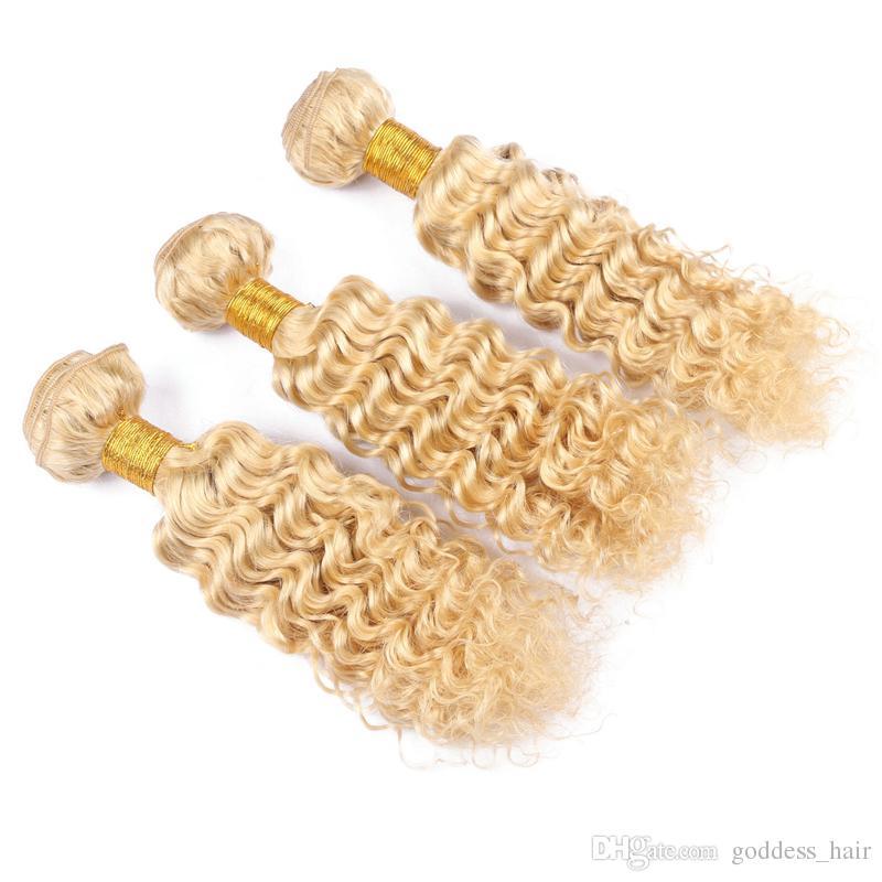 El pelo rubio profundo de la onda de Blench teje 3 paquetes con el cordón Forntal Pure Color 613 pelo rizado profundo con la oreja a la oreja frontal 13x4
