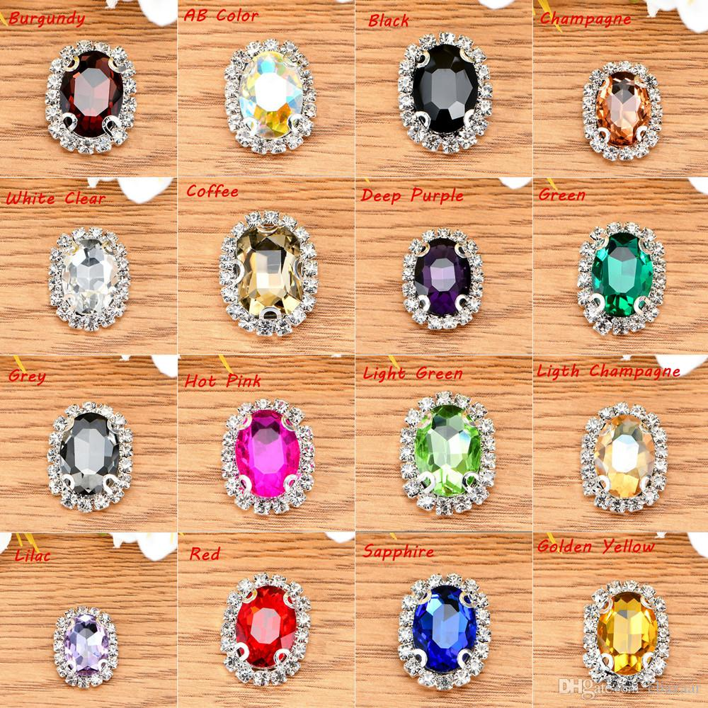 Oval Glass Crystal Sew On Rhinestones With Claw DIY Crystal Buttons Jewelry Accessories 13x18mm