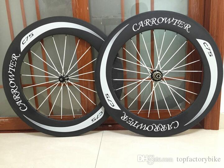 White logo 700c 88mm CARROWTER C75 carbon road bike wheels with 23mm width 6 kinds of hubs