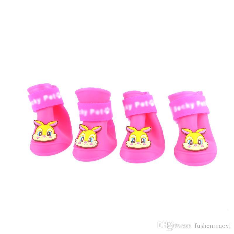 Pet Moda Serisi Köpek Ayakkabı Patik Silikon kaymaz Yağmur Çizmeleri Kar Köpek Çizmeler 3 boyutları 7 renkler ücretsiz kargo