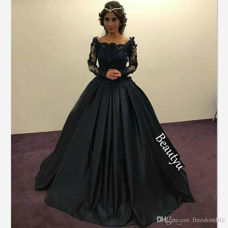 57016d7e255 Graceful Black Princess Evening Dresses Long Sleeves Sheer Lace Beaded  Appliques Scoop Ruched Ball Gown Party Gowns Formal Prom Dress Evening  Dresses Nz ...