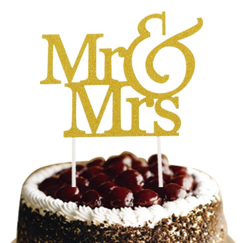 Gold Silver Mr & Mrs Cake Topper Love Wedding Cake Flags Glittler ...