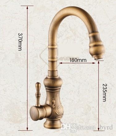 Cozinha antiga de latão acabamento de bronze torneira, cozinha torneira de água bica giratória Vanity Sink Mixer Tap Individual T01004 Handle
