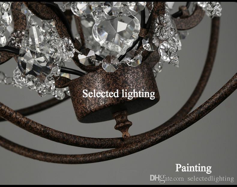 HR Industrial Lighting Restauration Quincaillerie Vintage Crystal Lustre Pendentif Lampe de pendentif Foucault Iron Orb Lustre Rustique Iron Gyro Loft Lumière