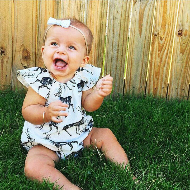 Summer Baby Newborn 100% Cotton Onesies Rompers Infant Toddlers Deer Design Outfits Bodysuits Sleepwear Girls Children Kid Triangle Jumpers