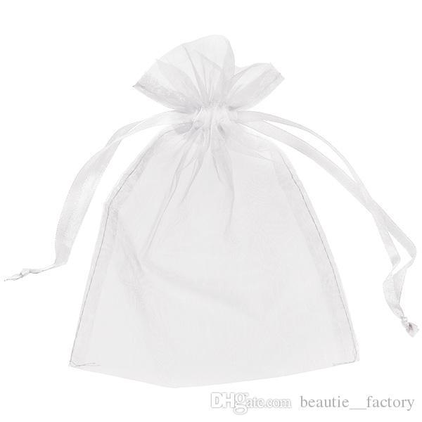 weißer Organza-Beutel-Geschenk-Beutel-Hochzeits-Bevorzugungs-Beutel 13cm X18 cm 5x7 Zoll 11 Farben Elfenbein / Gold / Blau