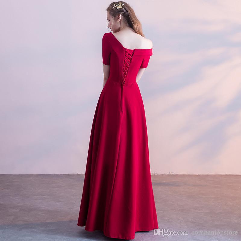 Luxury One Shoulder Short Sleeve Lace Up Floor Length A-Line Long Prom Dresses For Party longue robe de bal Vestido de noche largo