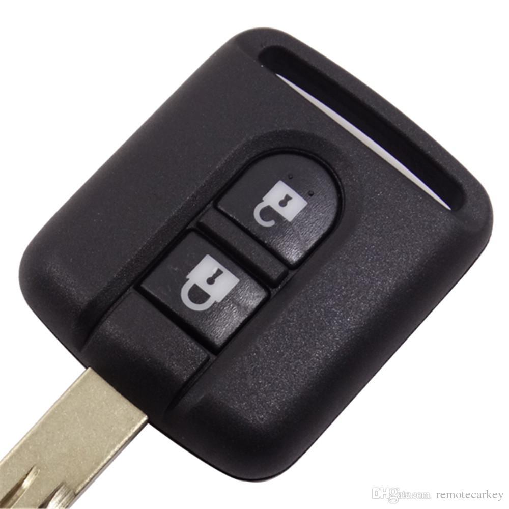 Recién llegado Nissan 2 Botón de llave remota Caja de llave Nissan en blanco con cuchilla sin cortar Reemplazar llave del coche