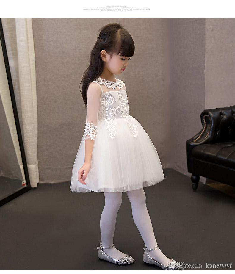 2017 paillettes pizzo tulle fiore ragazza vestito caviglia lunghezza principessa ball gown party abito da sposa ragazze abiti da prima comunione