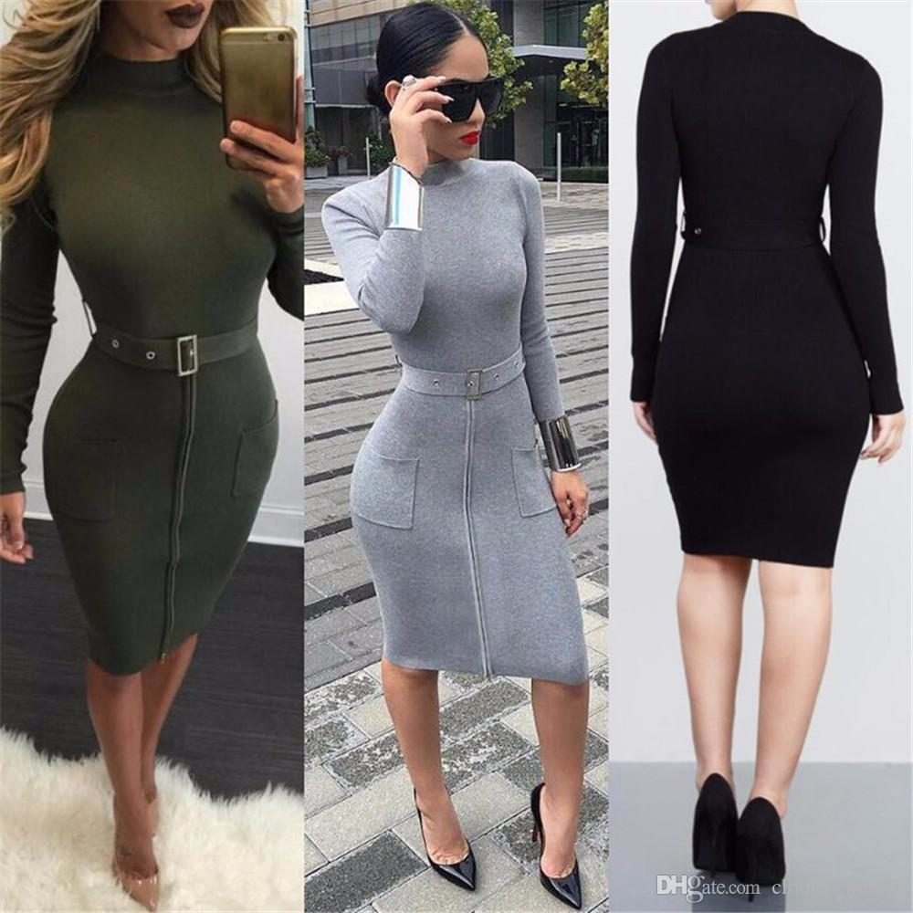 Top 2020 New High Quality Brand Women Fashion Sexy Dresses Zipper Double Pocket Casual Tight Hip Dresses Belt Street Style Slim Dresses