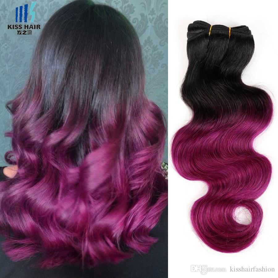 4 Bundles Two Tone Ombre Human Hair Weave Bundles Brazilian Body Wave Green Blue Grey Red Pink Purple Colored Brazilian Hair Extensions