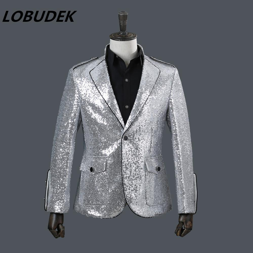 f3ab7ffb High Quality Male New Silvery White Sequins Jacket Blazer Fashion Tide Coat  Outfit Singer Nightclub Bar Costumes Host Performance Stage Wear Coat Man  Buy ...