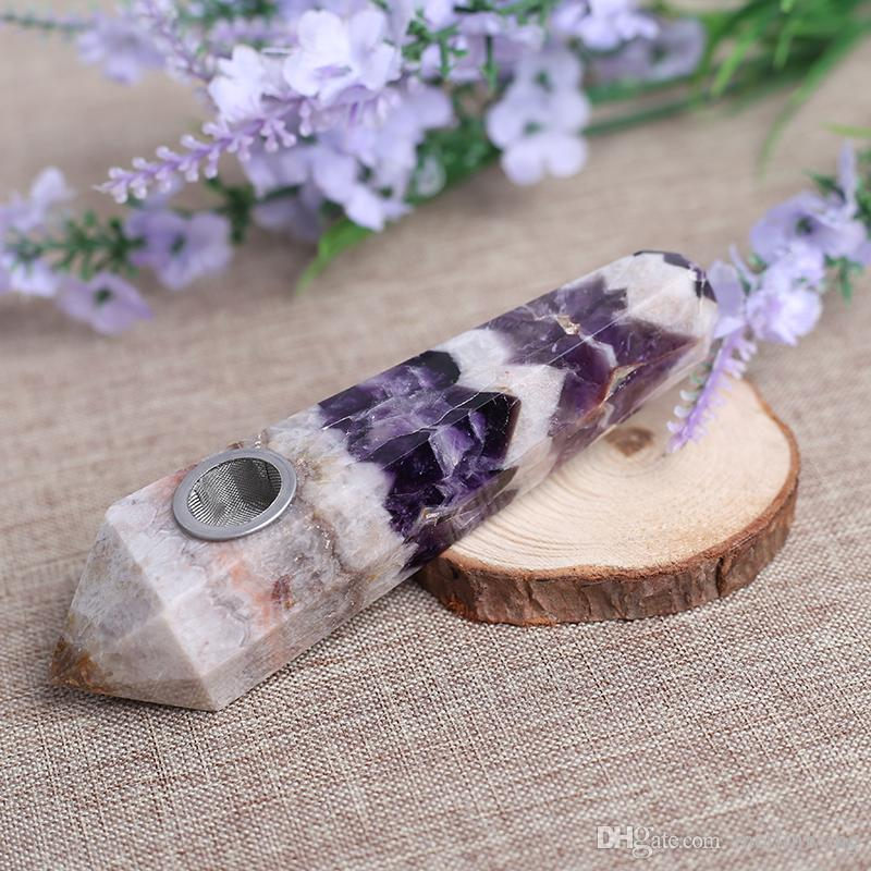 &Pouch! HJT Wholesale women modern custom smoking pipes natural Dream Amethyst CRYSTAL quartz Tobacco Pipes healing Hand Pipes